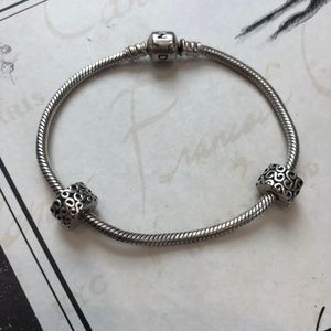 Pandora Bracelet with 2 stoppers